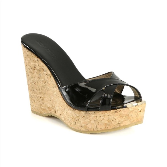 c0cb920de3 Jimmy Choo Shoes - Jimmy Choo Black Patent Leather and Cork Wedges